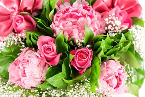 Pink roses and  peony flowers