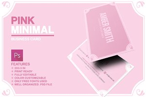 Pink Minimal Business Card