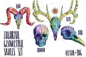 Colorful geometric skulls