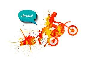 Watercolor motorcyclist + bonus