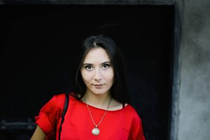 red and black portrait