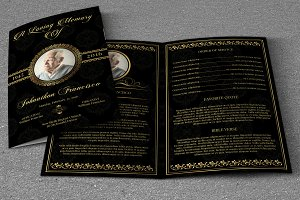 Golden Funeral Program Template-V399