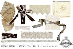 Vintage Ribbon Lace & Fabric Graphic