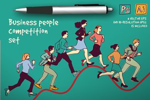 Business people competition set