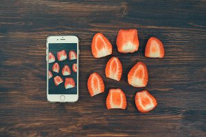 fresh strawberry and iPhone 6