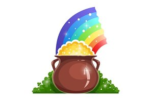 Kettle with gold and rainbow for saint Patrick's day