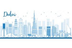 Outline Dubai Skyline