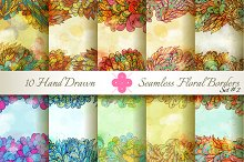 10 Floral Seamless Borders. Set#2