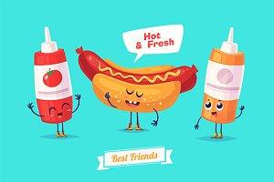 Funny ketchup mustard and hotdog