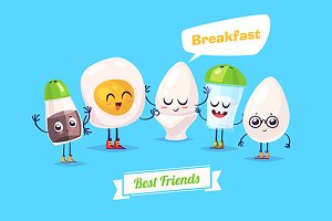 Funny characters eggs salt pepper