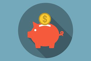 Piggy Bank Icon Flat