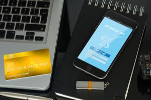 phone payment and plastic card