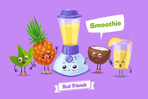 Funny coconut pineapple and Smoothie