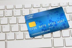 credit card on keyboard