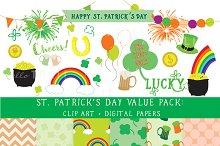 SALE! St Pat's Day Clipart + Paper