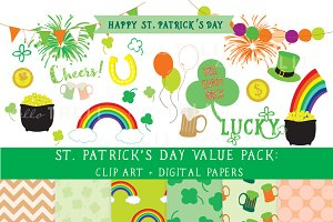 SALE! St Pat's Day Clipart + Paper