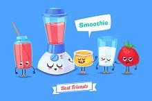 Honey milk strawberry and smoothie