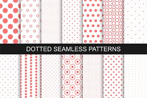Dotted seamless patterns. Vector set