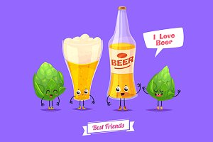 Funny beer glass bottle and thirsty