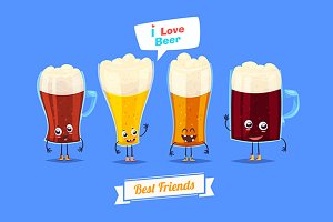 Funny characters beer glasses