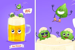 Funny characters hop and beer