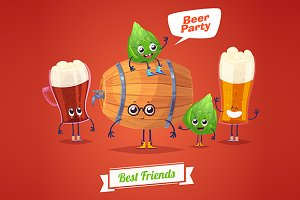 Funny characters beer glasses barrel
