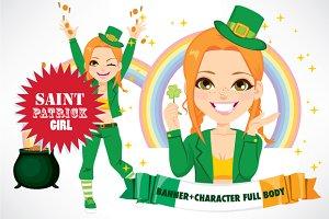 Saint Patrick Girl Character Banner