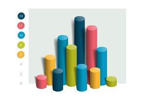 3D chart, graph. Info graphics bar.