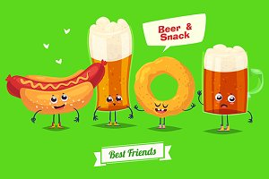 Funny characters beer and snack