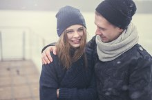 in love couple winter day