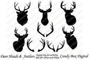 Deer and Antler Silhouettes with SVG