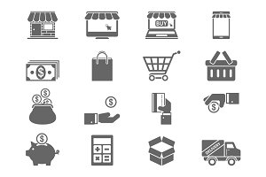 Online Shopping Icons on Gray