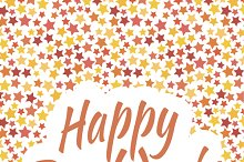 Happy birthday card cover with stars