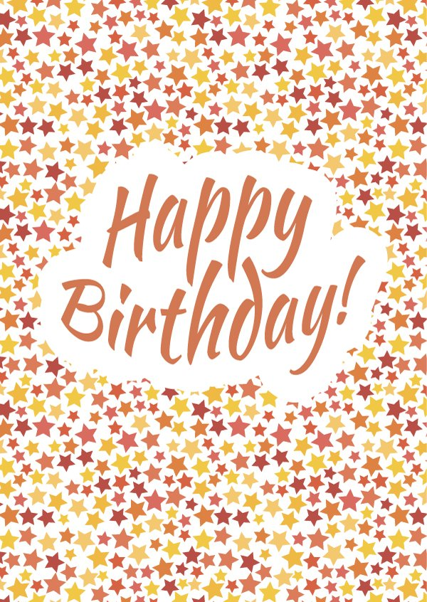 Happy Birthday Card Cover With Stars Illustrations Creative Market