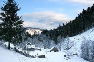 Carpathian Mountains village view