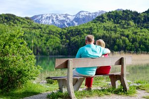 Elderly couple on bench