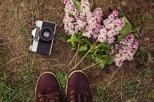 old camera, lilac, shoes