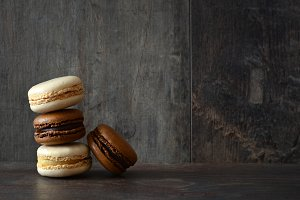 Macarons on wood