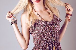Hippie boho woman happy smiling