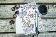 Coloring book page for adult. Vector