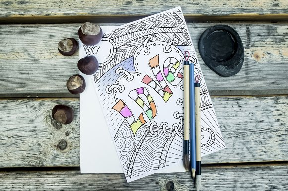 Coloring book page for adult. Vector - Illustrations