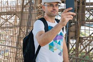 Selfie time inside the Eiffel Tower