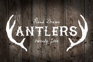 25 Vintage, Hand Drawn Antlers