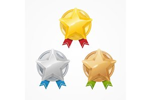 Medals with Stars Set. Vector