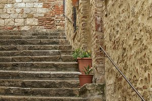 Old stone stairs in Italy