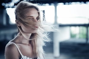 The beautiful blonde on a windy day