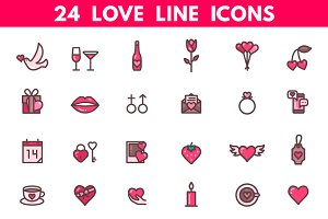 Valentines Day and Wedding Icons