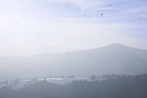Panorama of winter landscape