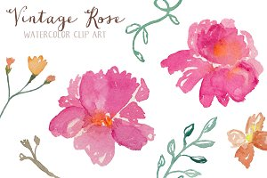 Vintage Rose Watercolor Clip Art