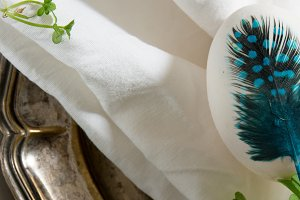 easter bule egg, place setting